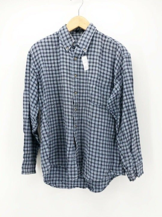 Members Only Mens Shirt Blue Checkered L
