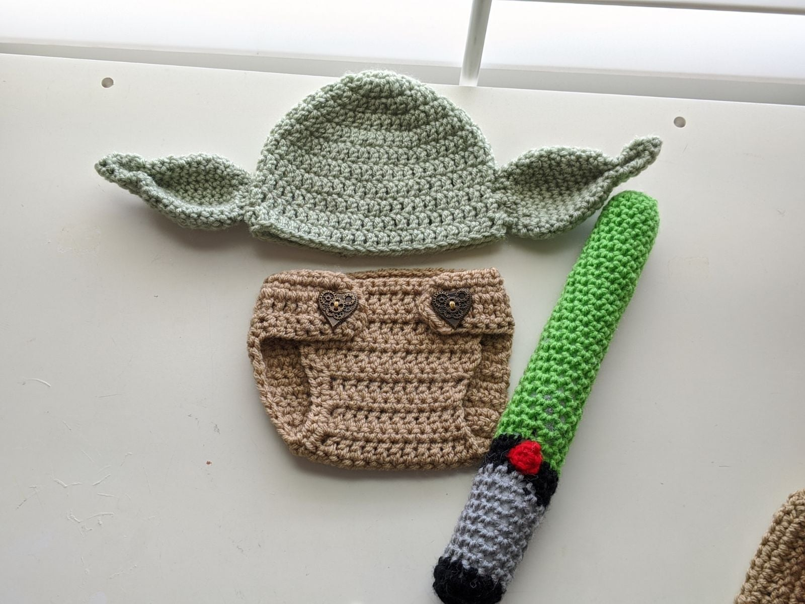 0-3m Crochet Baby Yoda Outfit