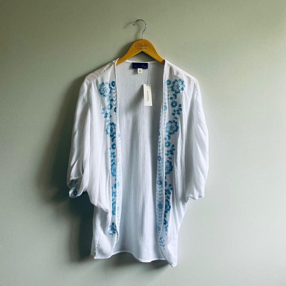Blue Rain Embroidered Kimono Shawl Top