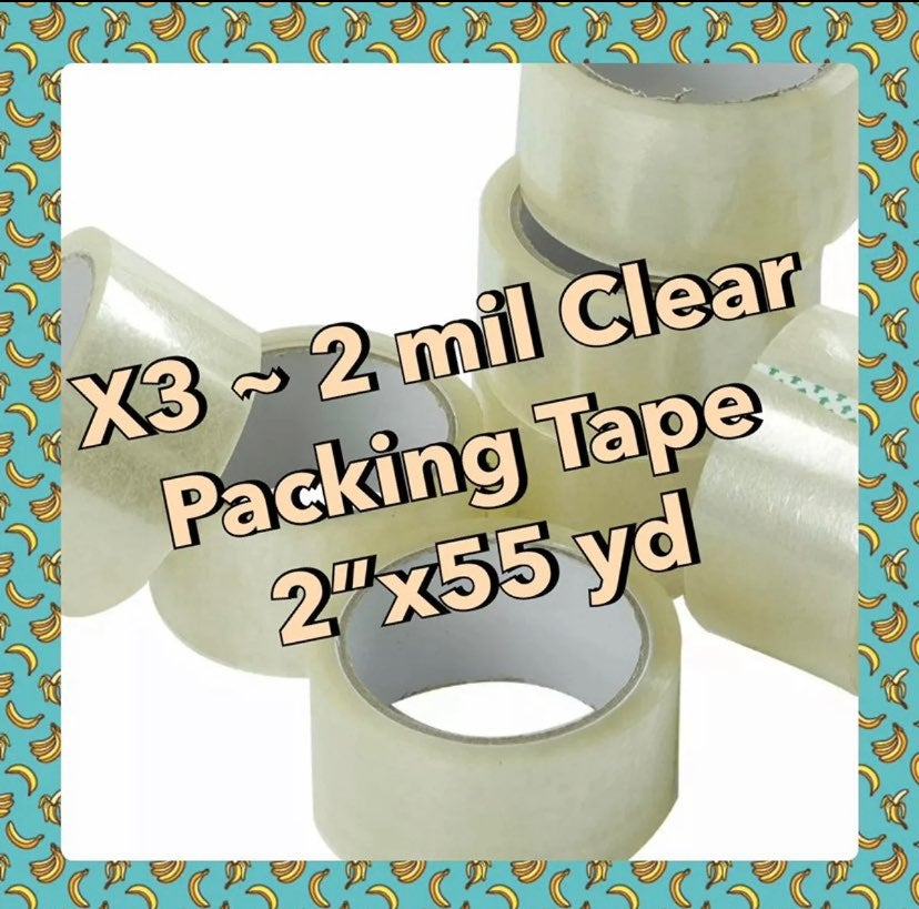 """3 ROLLS clear PACKING TAPE 2"""" 165 ft"""
