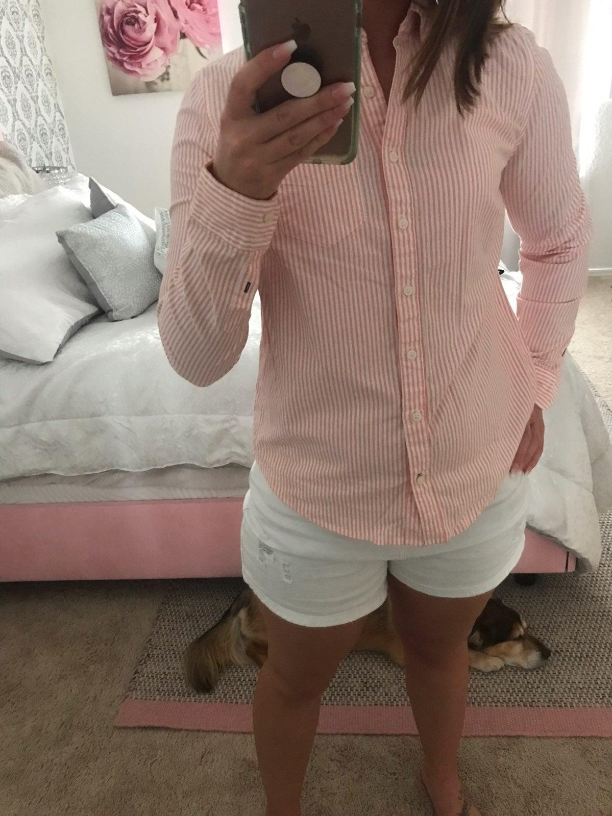 Peach striped womens blouse
