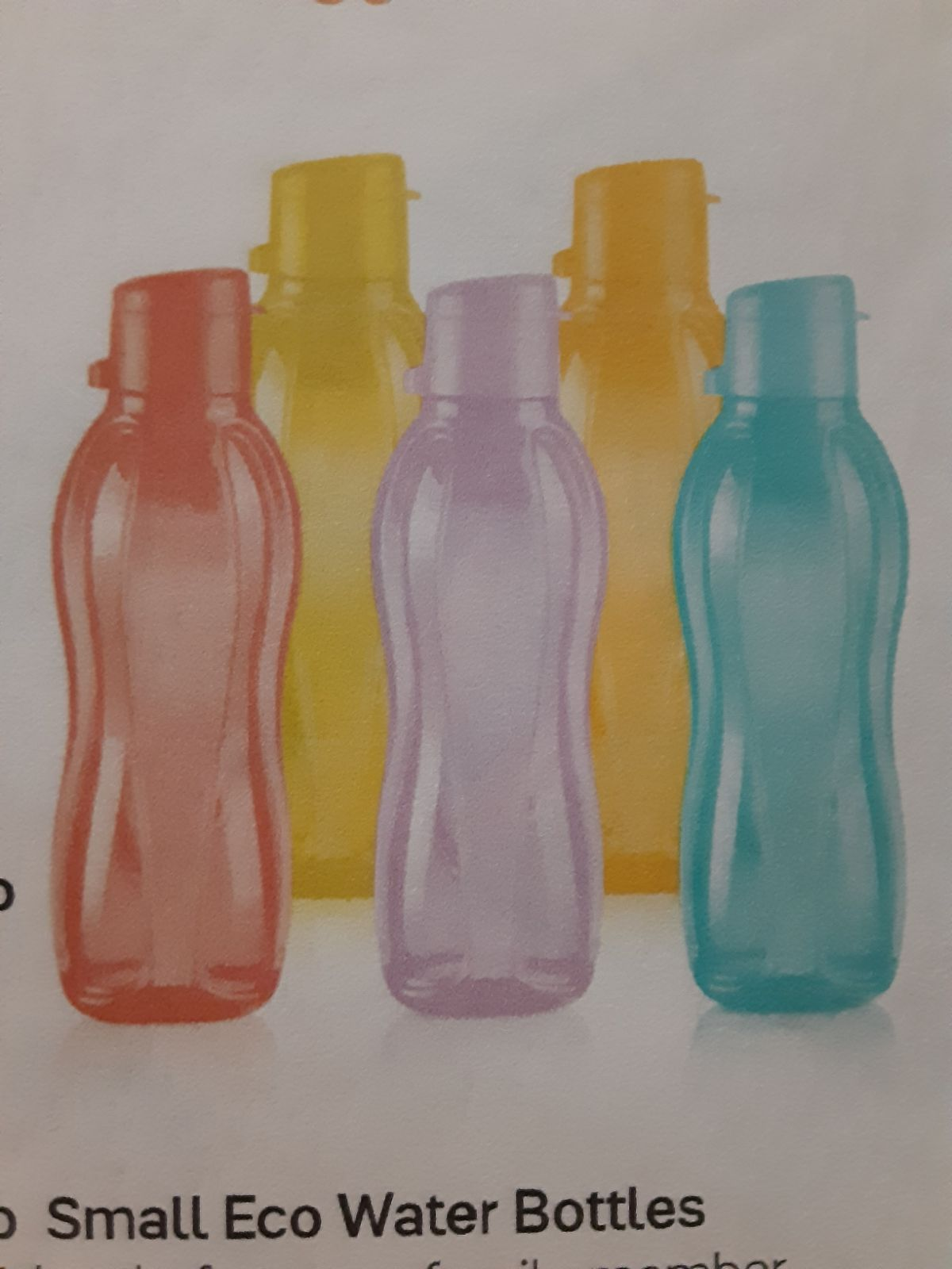 Set of 5 Tupperware eco water bottles.