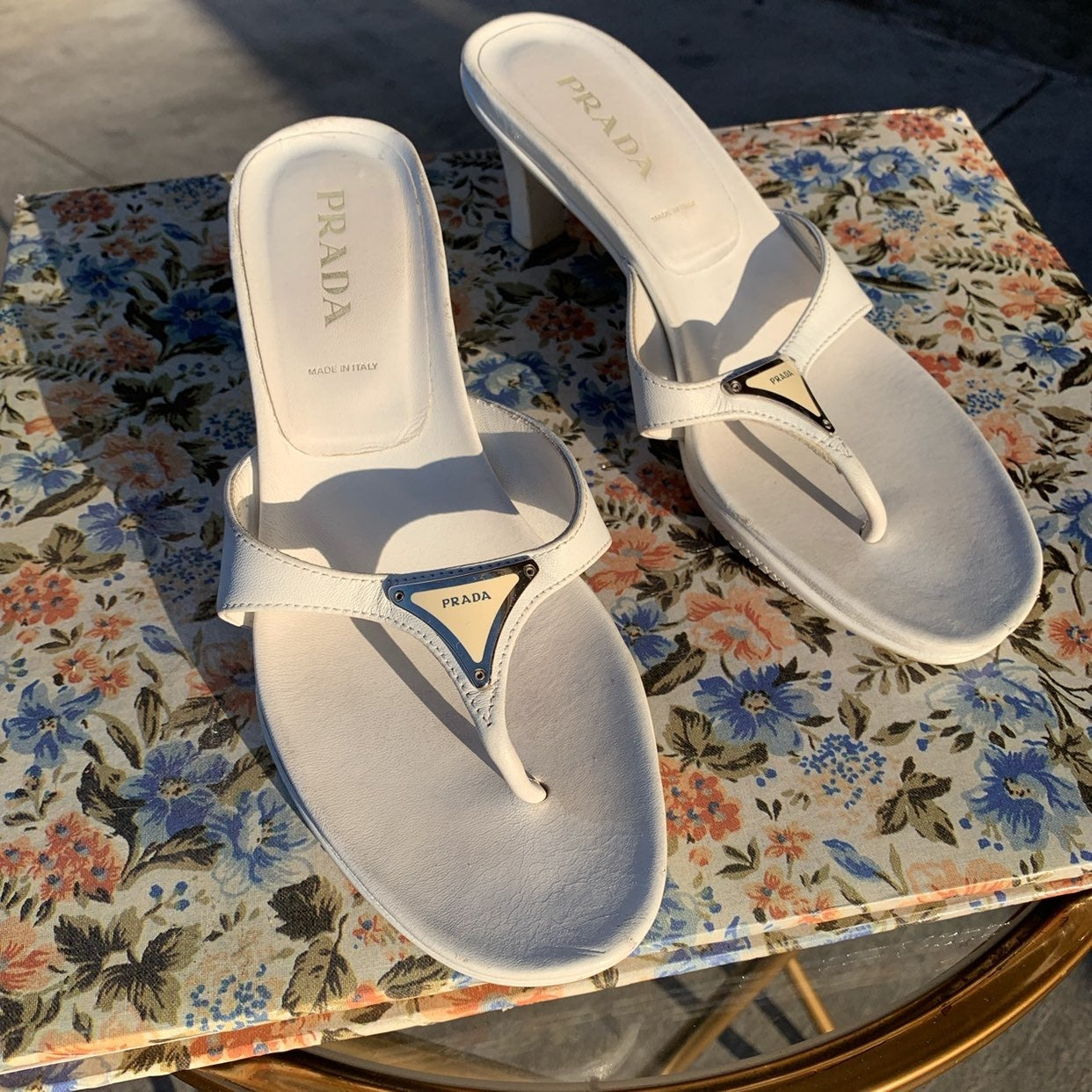 Vintage 2000's White Prada Kitten Heels
