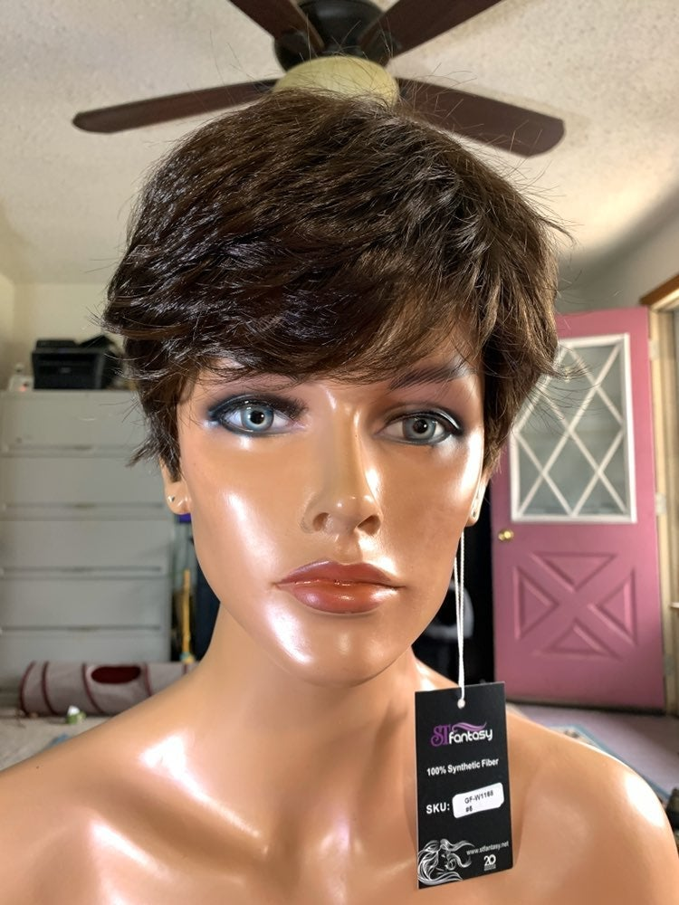 #85 short brown layered synthetic