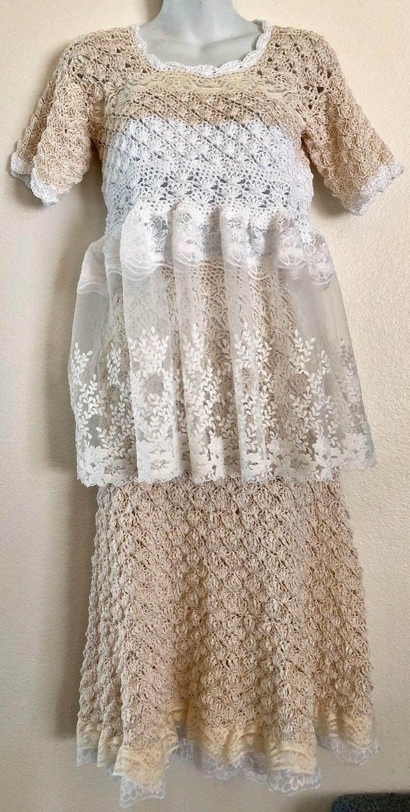 Crocheted/lace skirt top handbag set