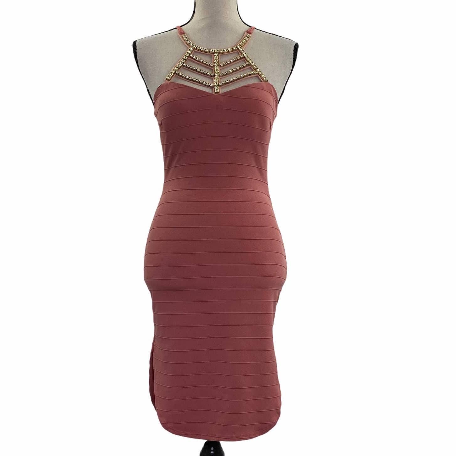 Papaya Mauve Rhinestone Embellish Dress