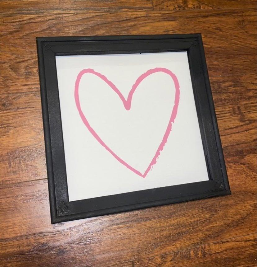 Heart wall art, home decor wooden canvas