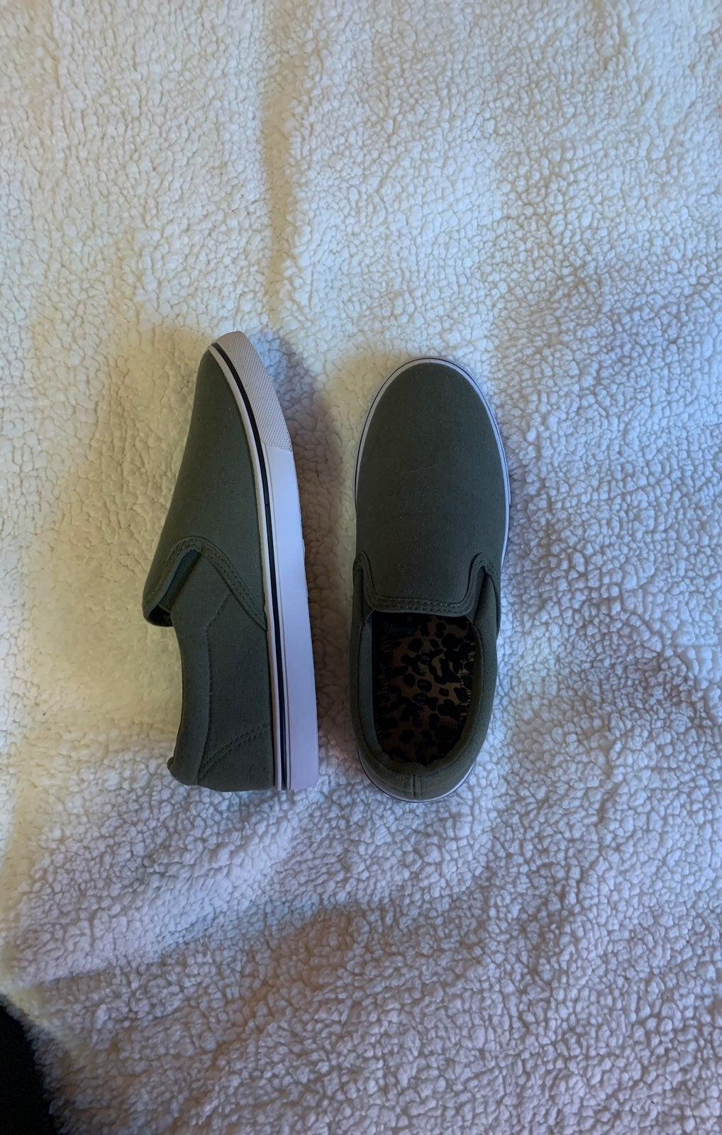 Green slip on shoes