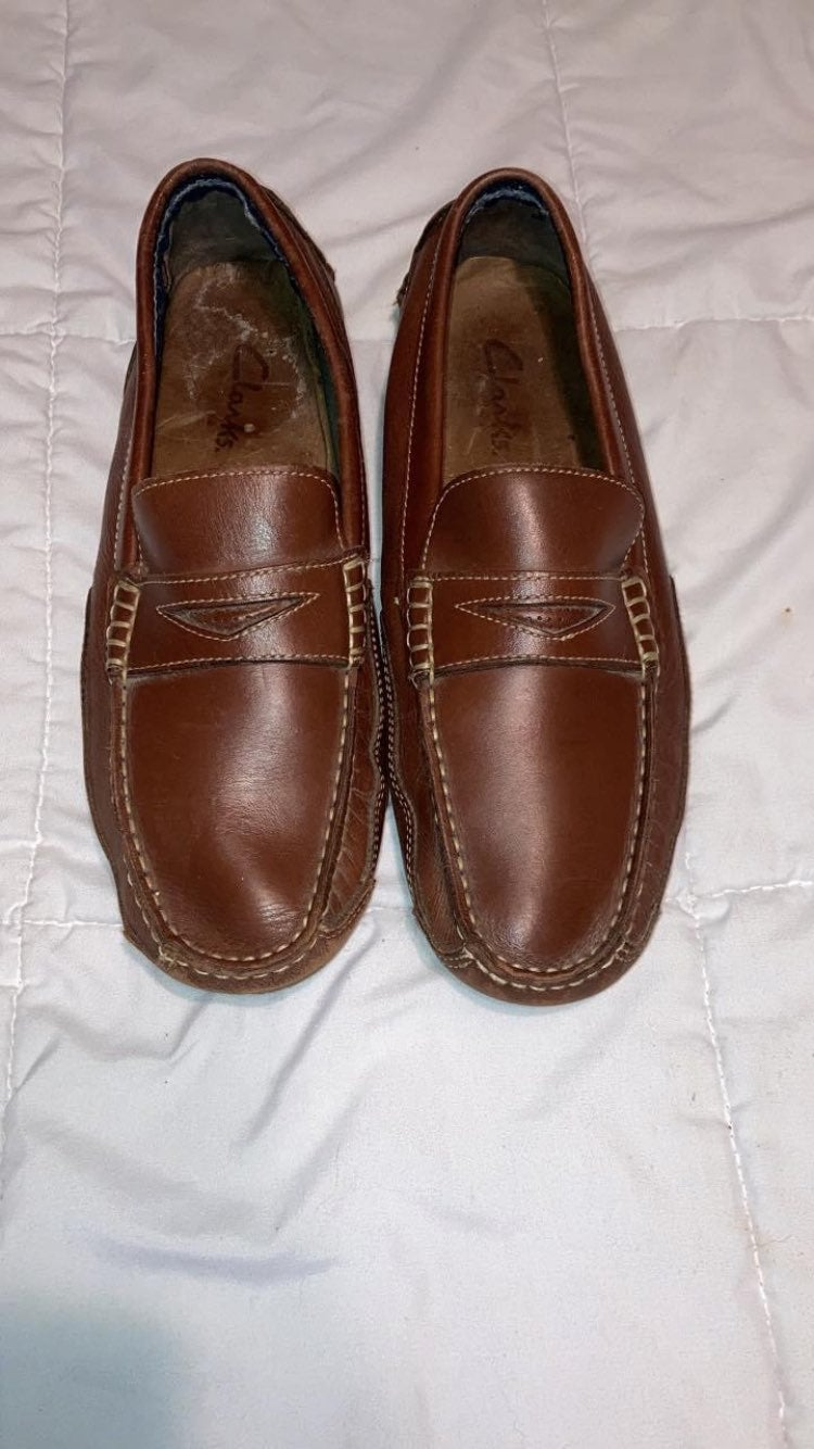 Loafers clarks brown leather mens 12