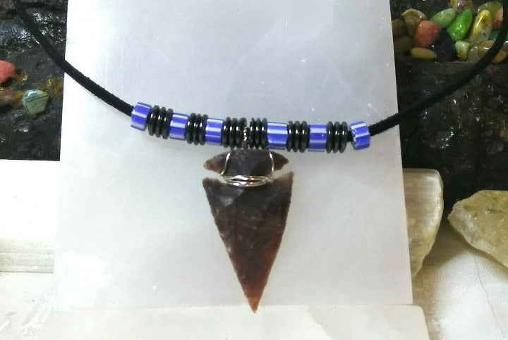 Necklace with Sliver Wire Wrapped Arrowhead Hematite Chevron Trade Beads