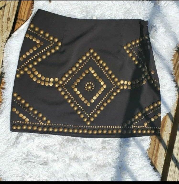 Remains Brown Embellished Skirt