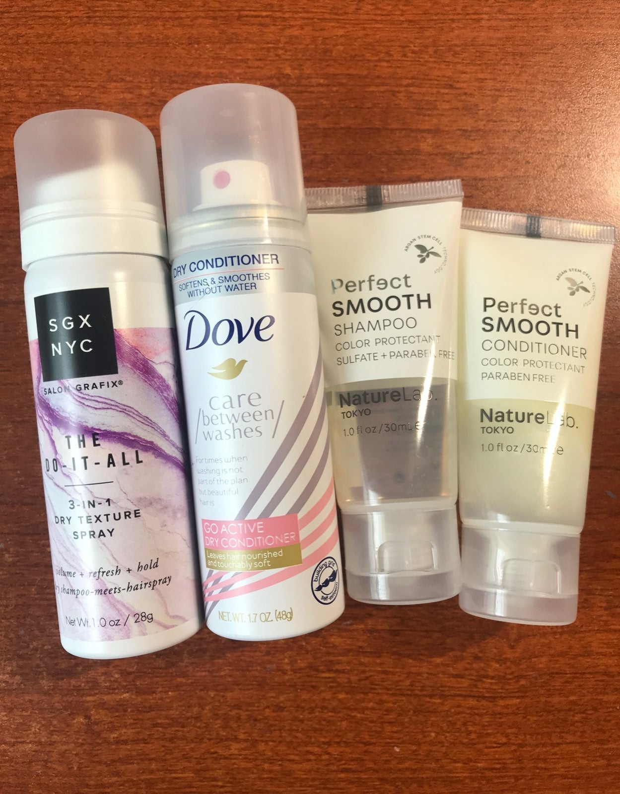 Dove, Naturelab, SGX NYC hair sample