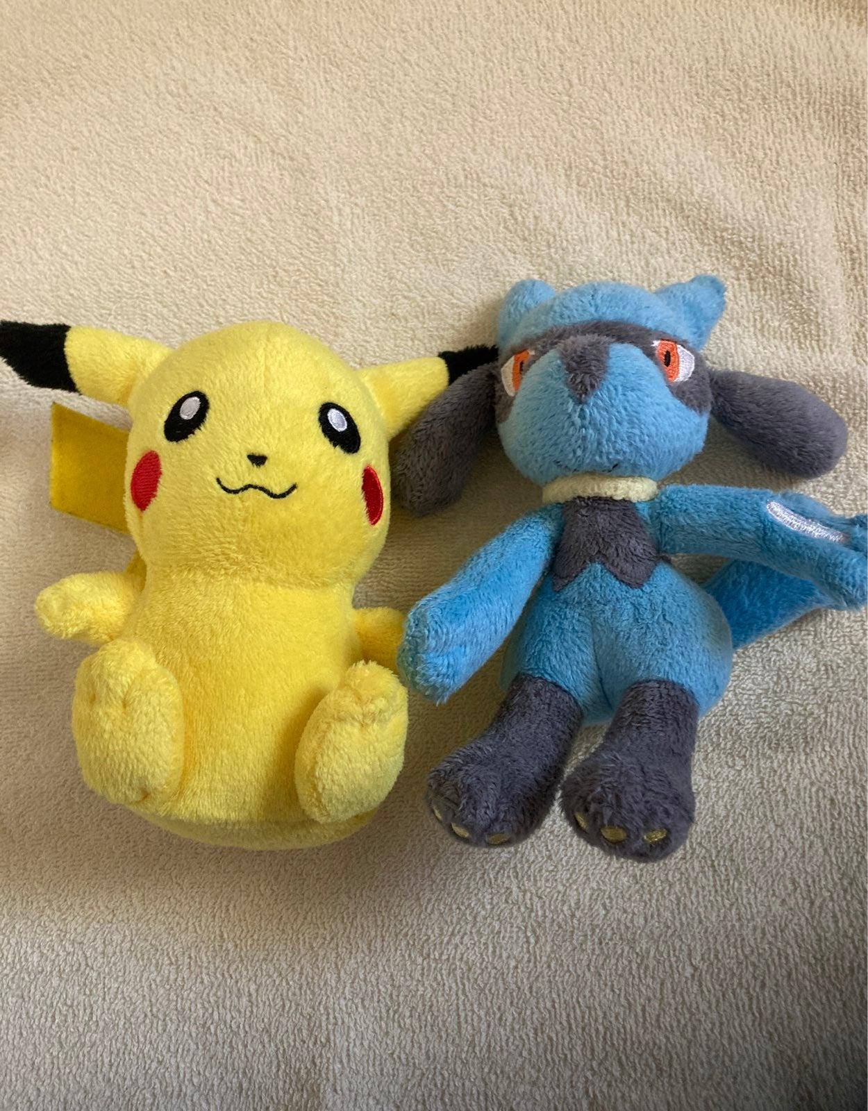 Pokemon Pikachu Riolu Vintage Plush Lot