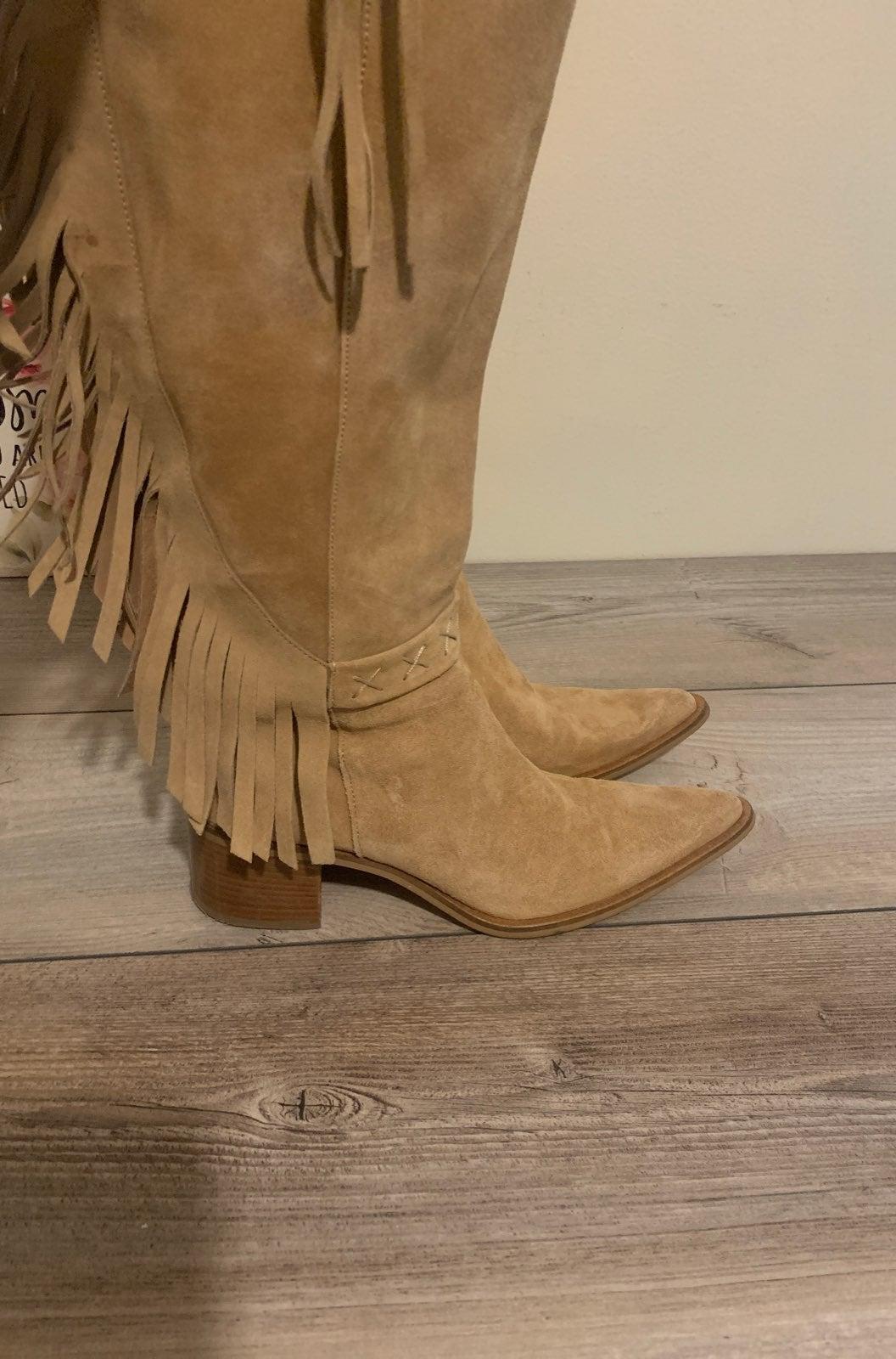 Bronx Tan Suede fringe boots sz39