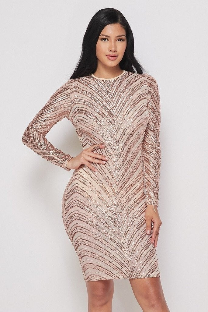 Sequin Embellished Bodycon Dress Nude