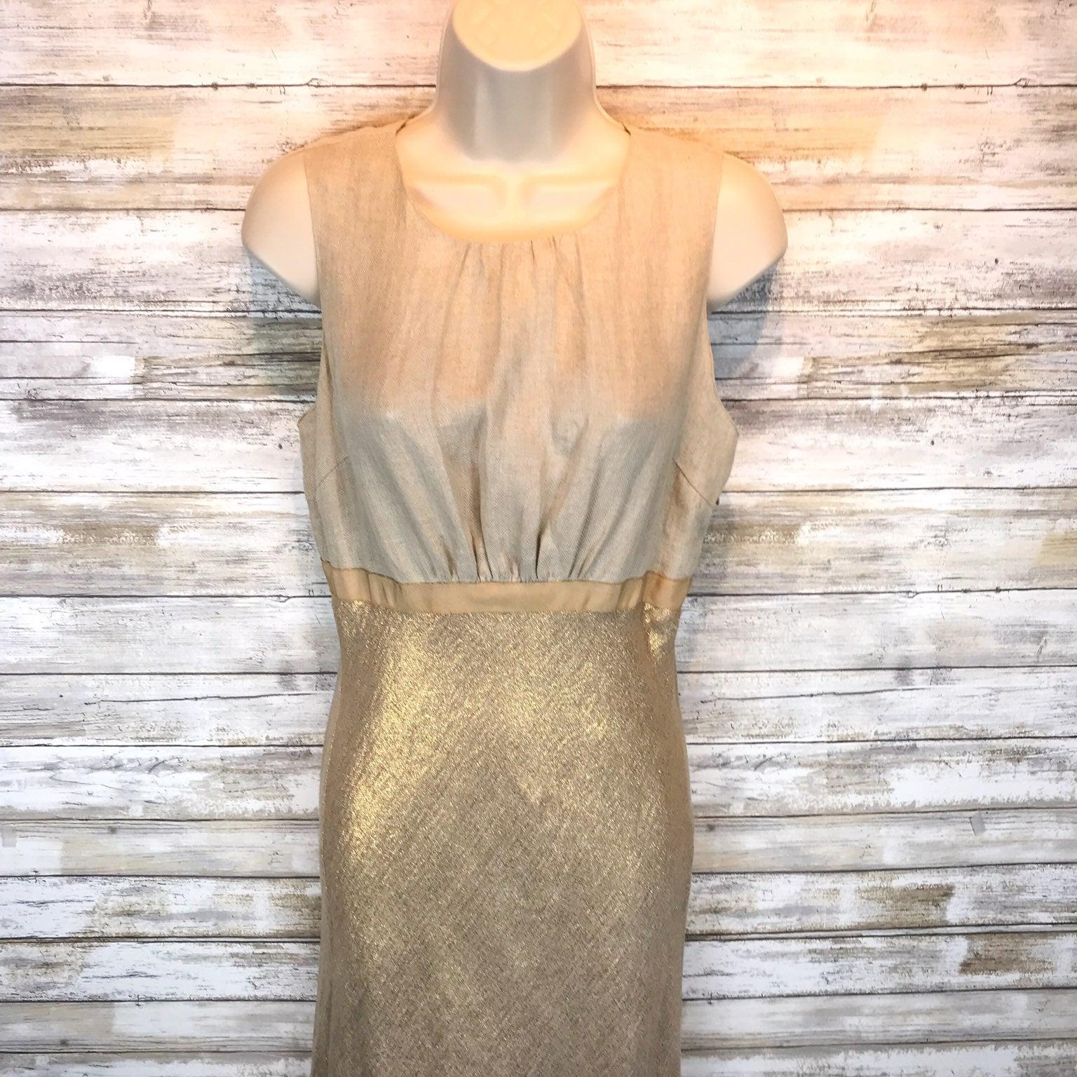 Tory Burch Gold Linen Dress Sz 6