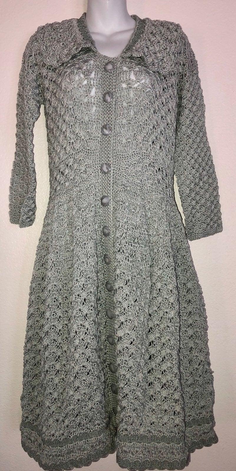 Crocheted cotton long dress/handbag
