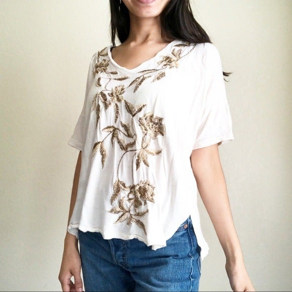 Lucky Brand embroidery floral sequin top
