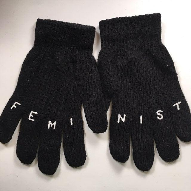 FEMINIST hand painted gloves (black)
