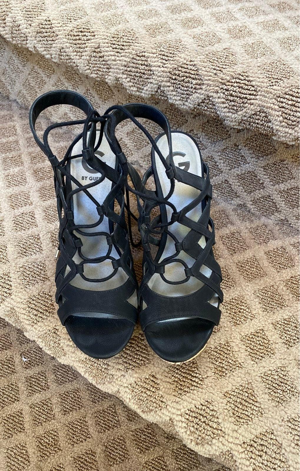 Guess black wedge sandal heel shoe 9