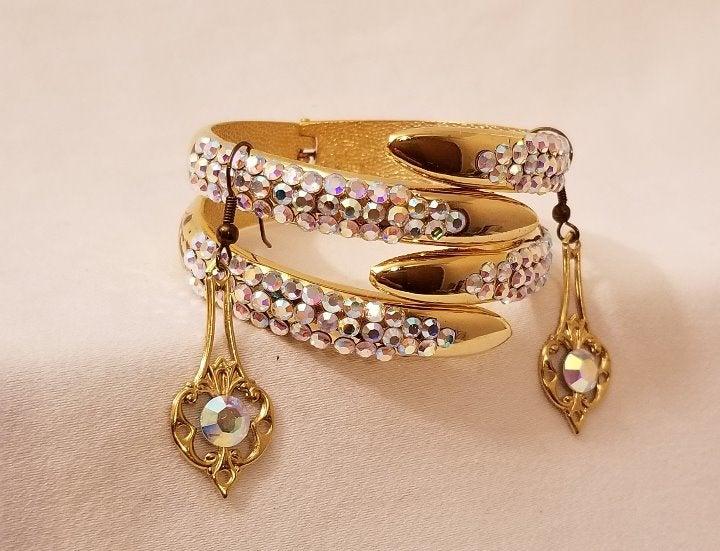 Gold tone Bracelet and Earring Set
