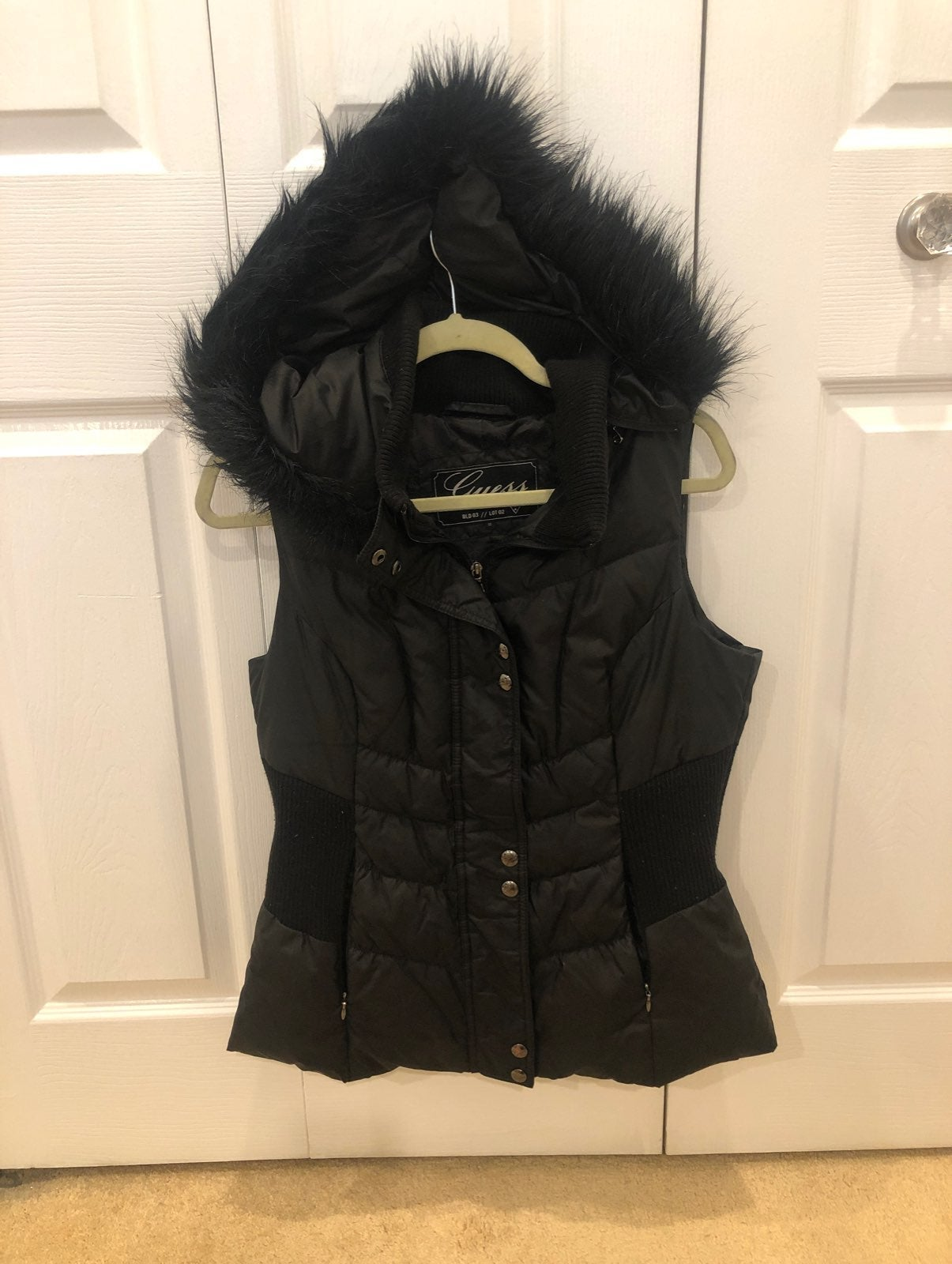 Guess Faux Fur Hood Puffer Vest