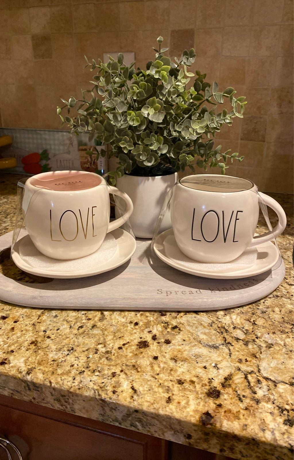 Rae Dunn New Tea Cup and Saucer LOVE Set