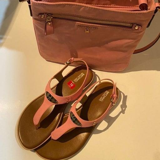 2pc Michael Kors Purse & Thong Sandals