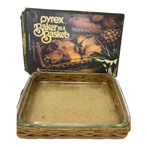 VTG PYREX Baker in a Basket 3 Qt Glass