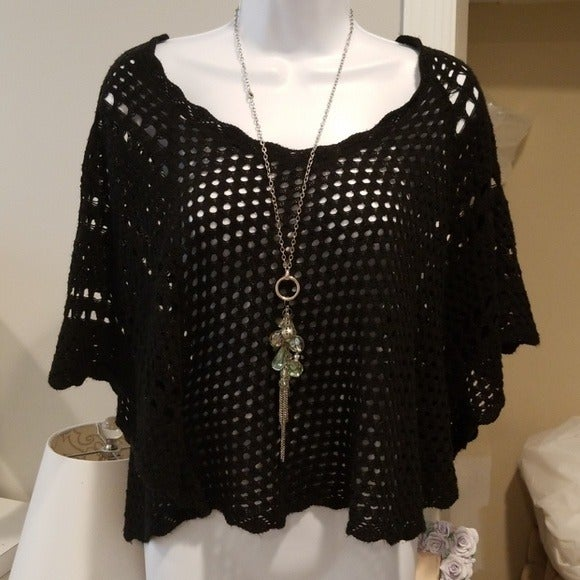 NWT Black crochet knit top