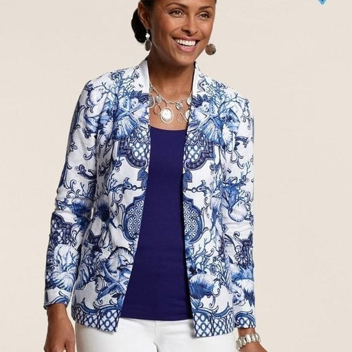 Chico's Heidi Sanibel Shores Jacket 100% Linen Chinoiserie Trellis Blue White L