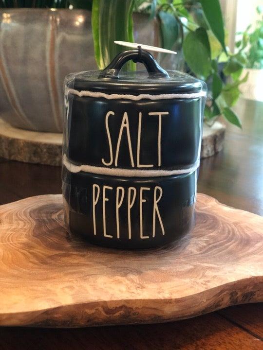 Rae Dunn Salt/Pepper Stacker BLACK Set