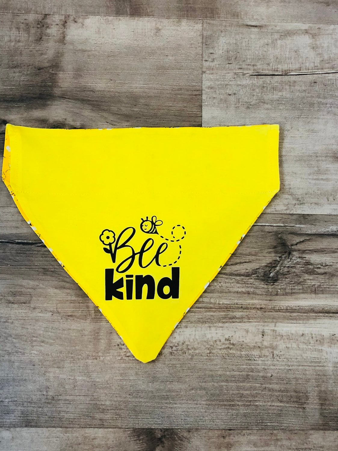 Reversible Over-the-Collar Dog Bandana w/ options to Personalize Bumble Bee