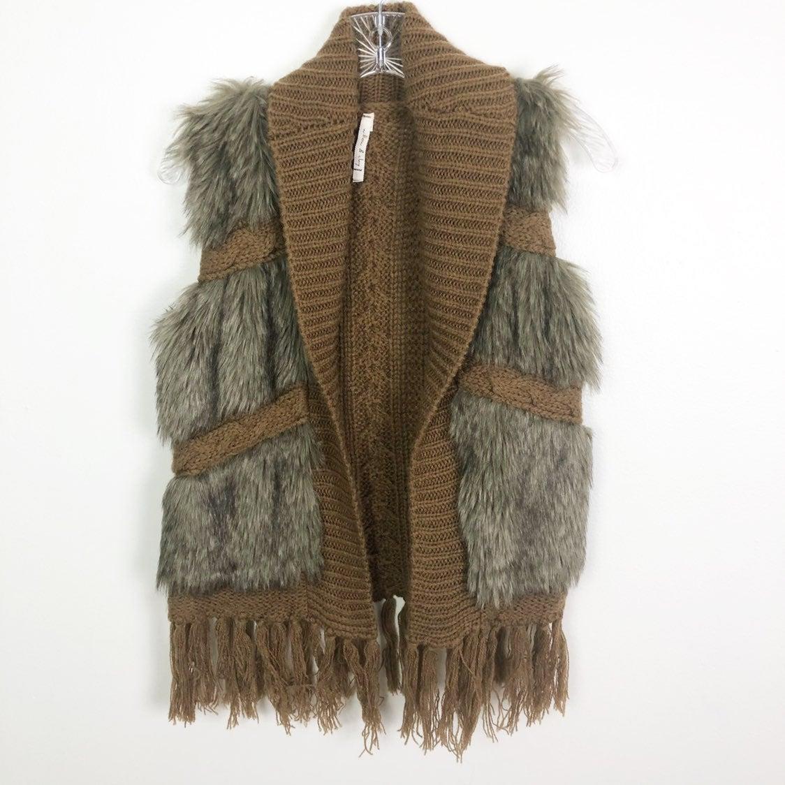 Willow & Clay Fringe Faux Fur Vest XS