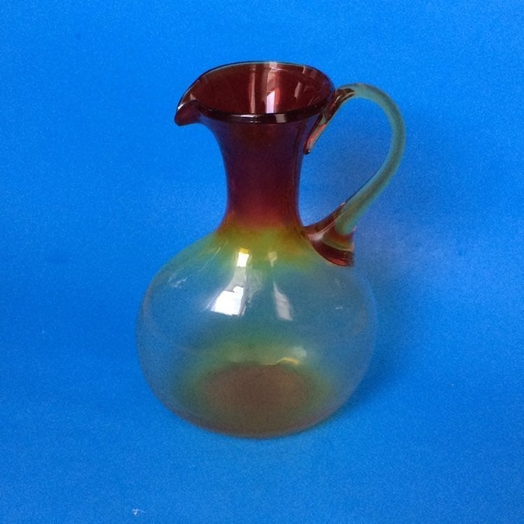 HAND BLOWN COLORED GLASS VASE - PITCHER