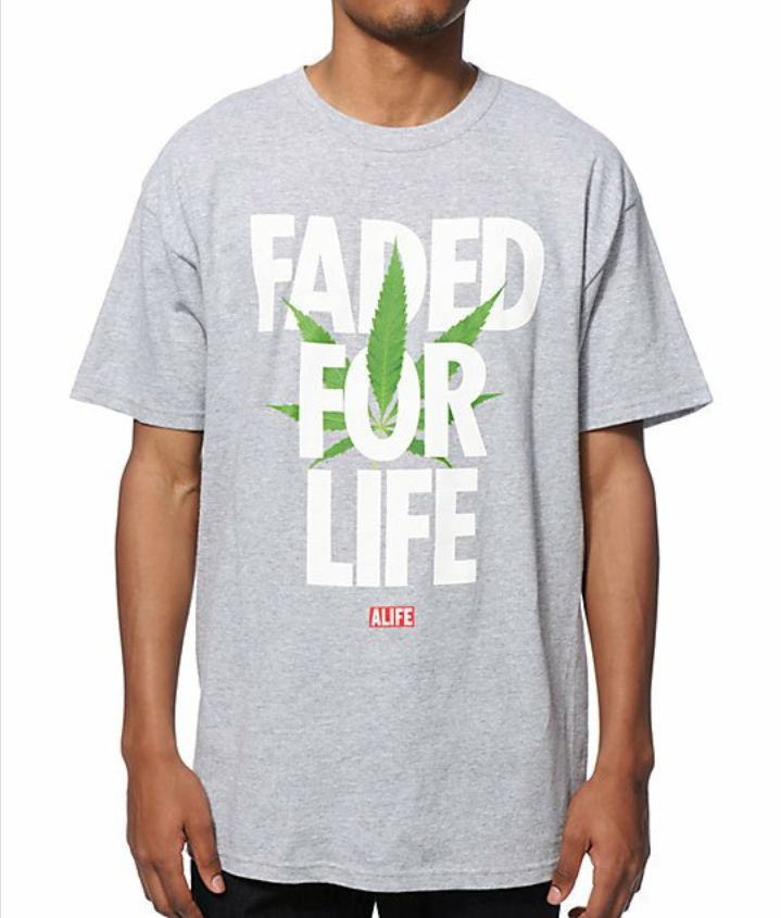 ALIFE Faded For Life GREY Tee T Shirt