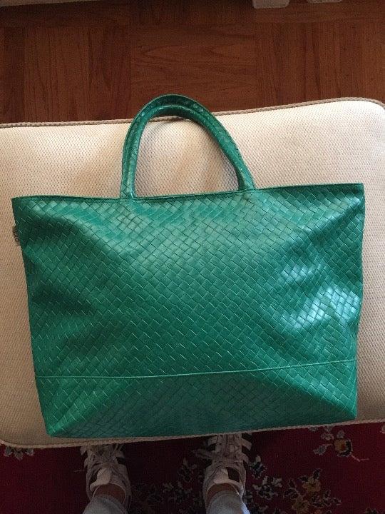Green Weaved Leather SAC Handbag