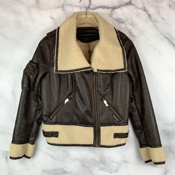 NWT Members Only Leather Sherpa Jacket