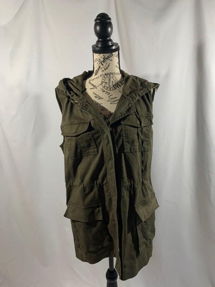 Matty M hooded army green long vest