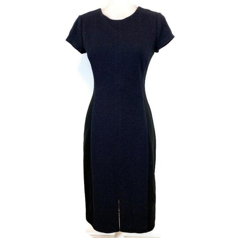 Club Monaco Blue Black Wool Midi Dress