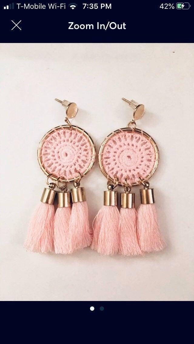 Dreamcatcher Fringe Drop Tassel Earrings