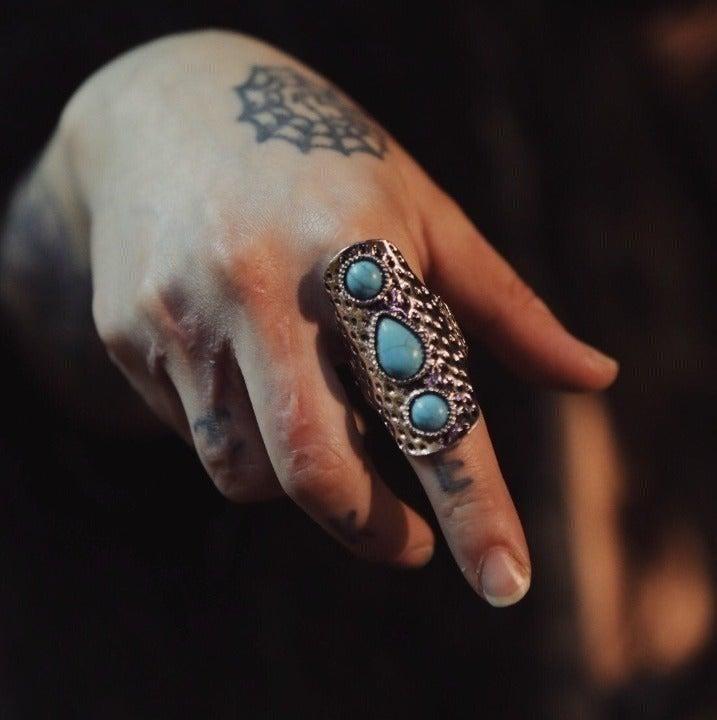 Three Stone Turquoise Adjustable Ring
