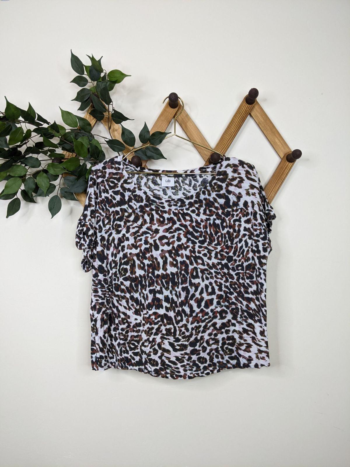 Cabi 3414 Leopard Boxy T-Shirt Top