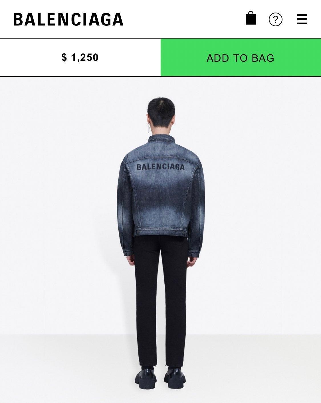 Balenciaga Dark Blue Wash Jean Jacket