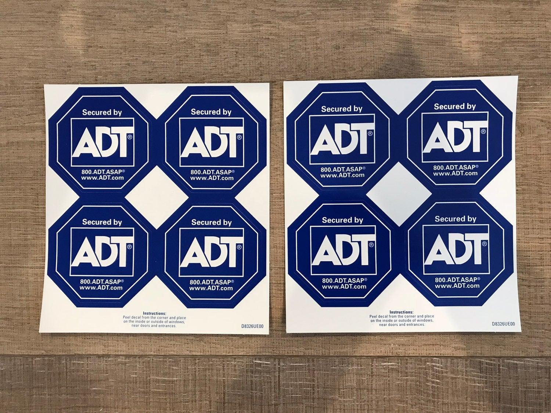 8 ADT window stickers