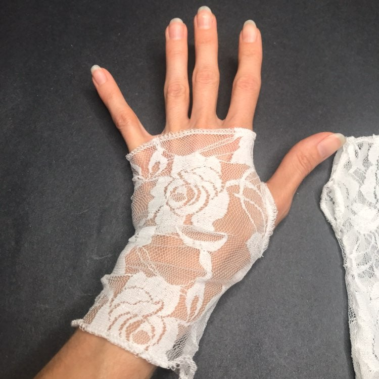 Dead Bride Costume White Lace Gloves