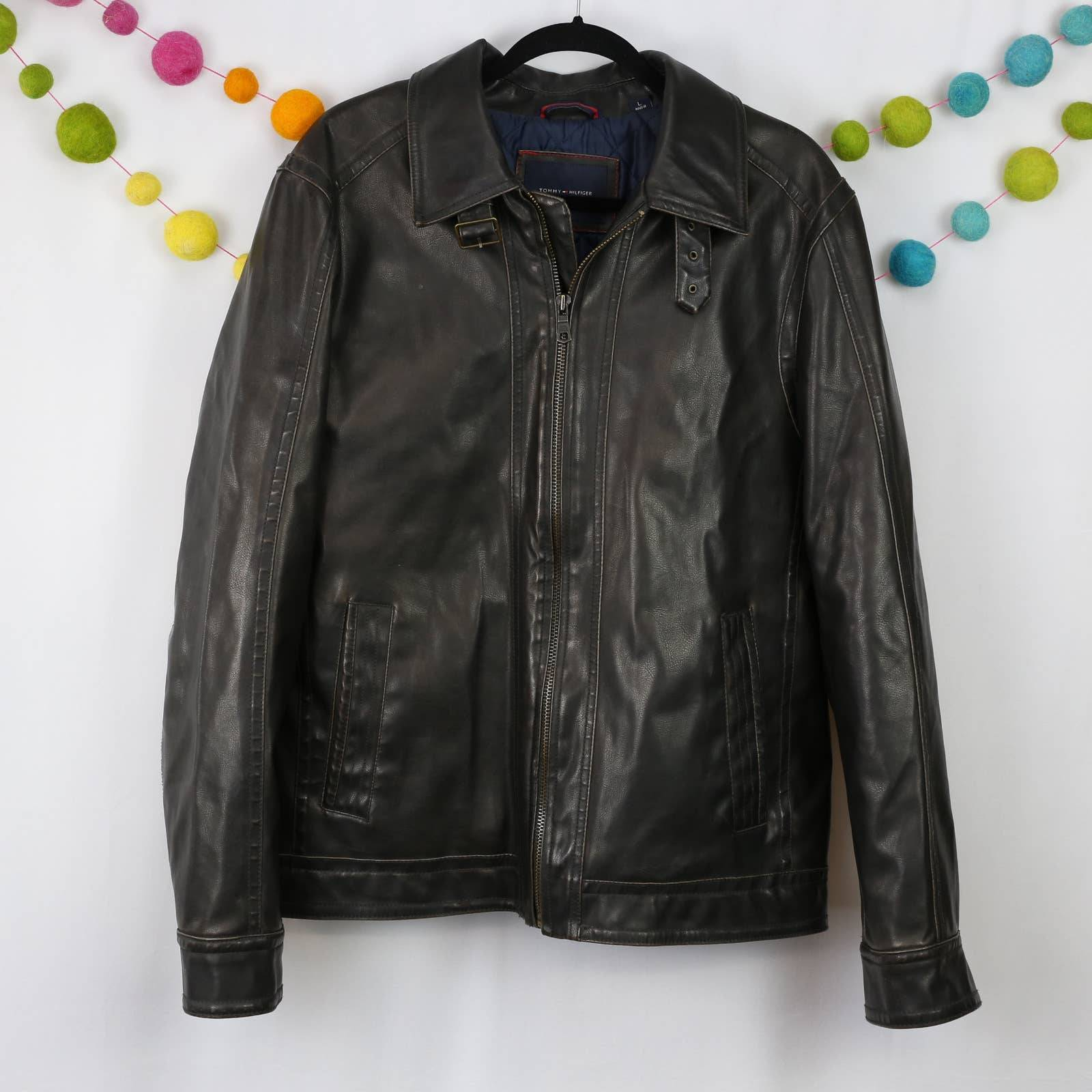 Tommy Hilfiger Brown Faux Leather Jacket
