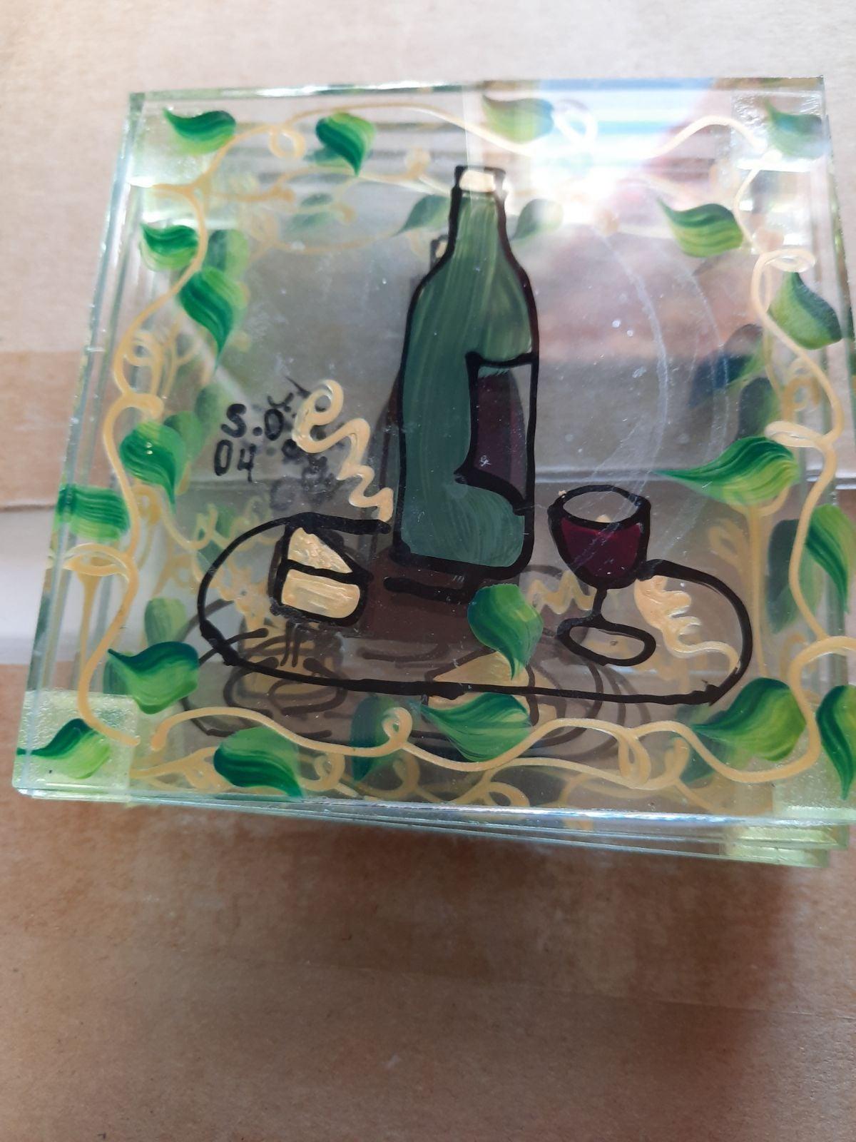 J.M.  04 glass wine print coasters