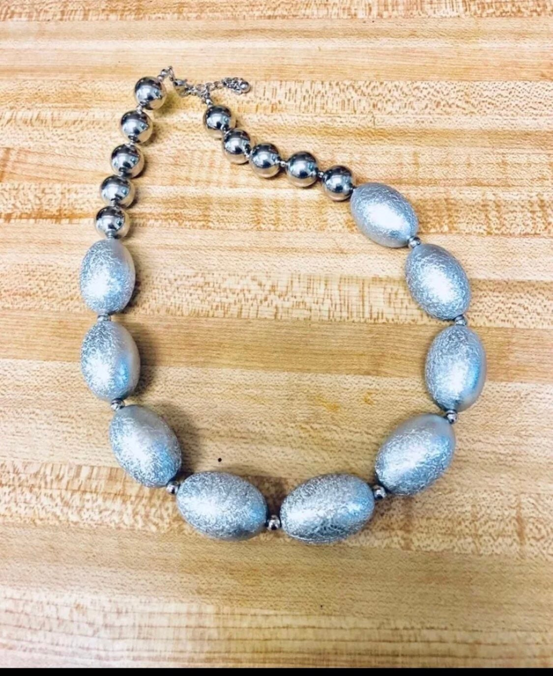 Silver baubles statement necklace NEW
