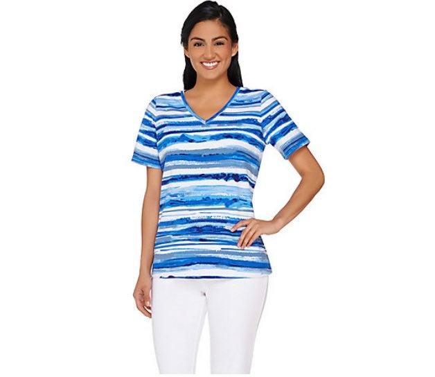 Denim & Co. yellow stripe top Size 1X